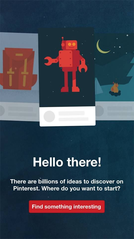 Pinterest's customer onboarding welcome screen